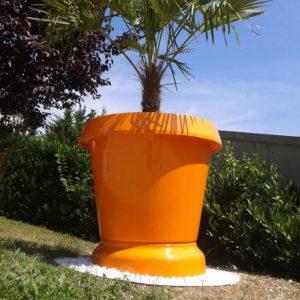 Pot JUMBO avec support pelouse haut orange