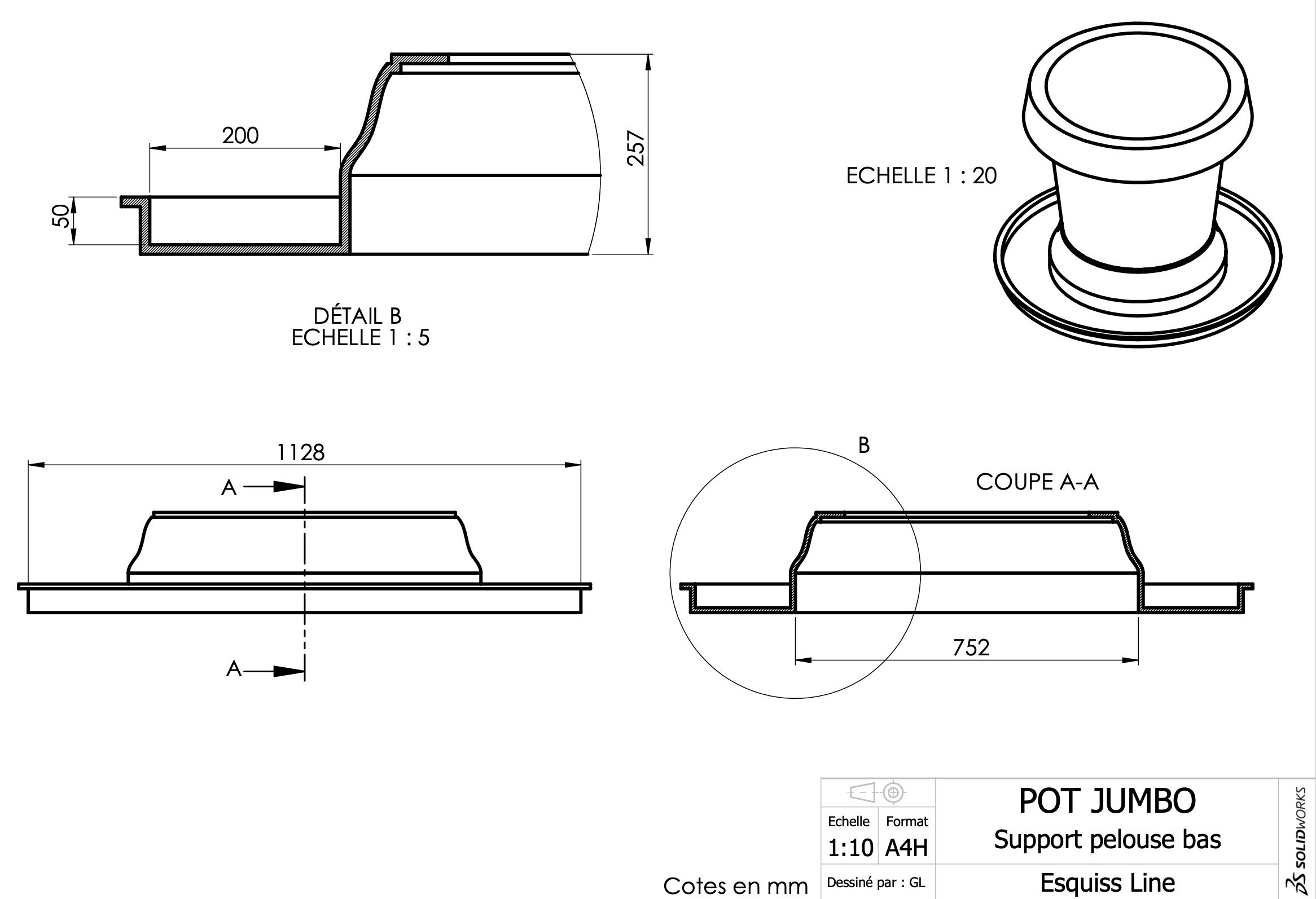 Fiche technique du pot Jumbo support pelouse bas