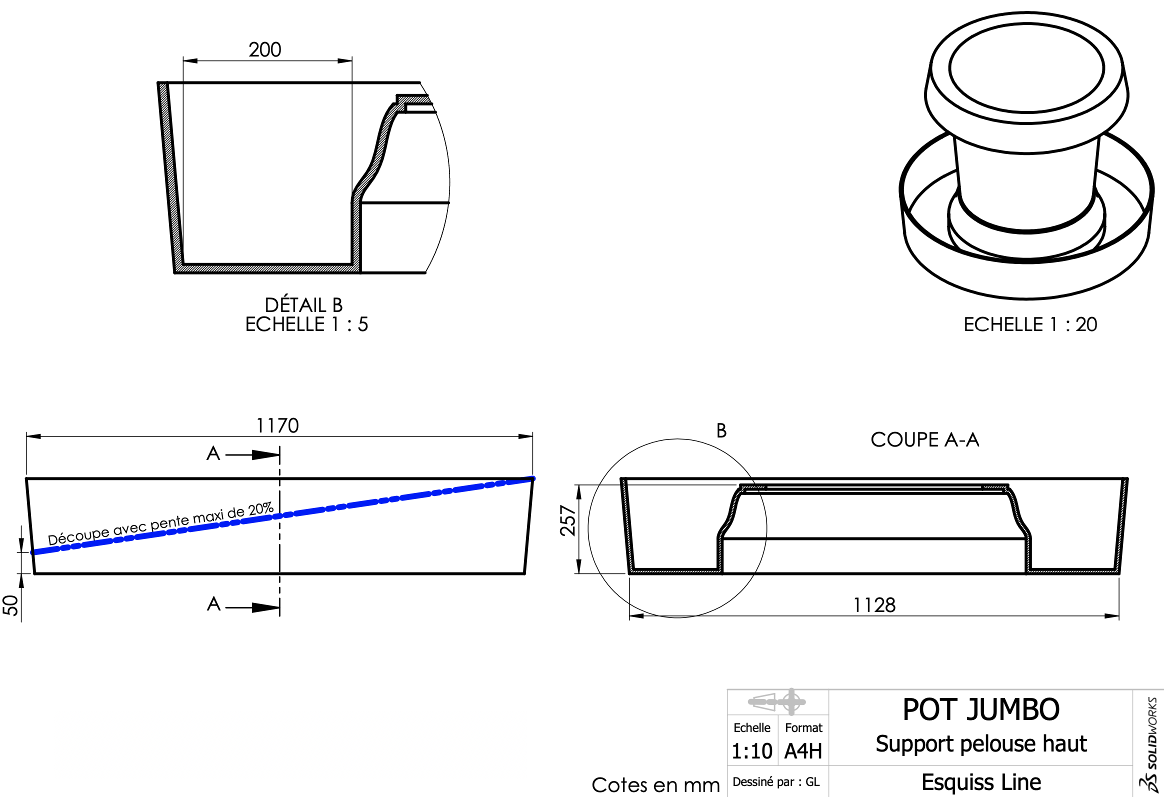 Fiche technique pot jumbo support terrasse haut