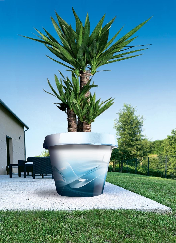 pot de fleur jumbo en composite bleu