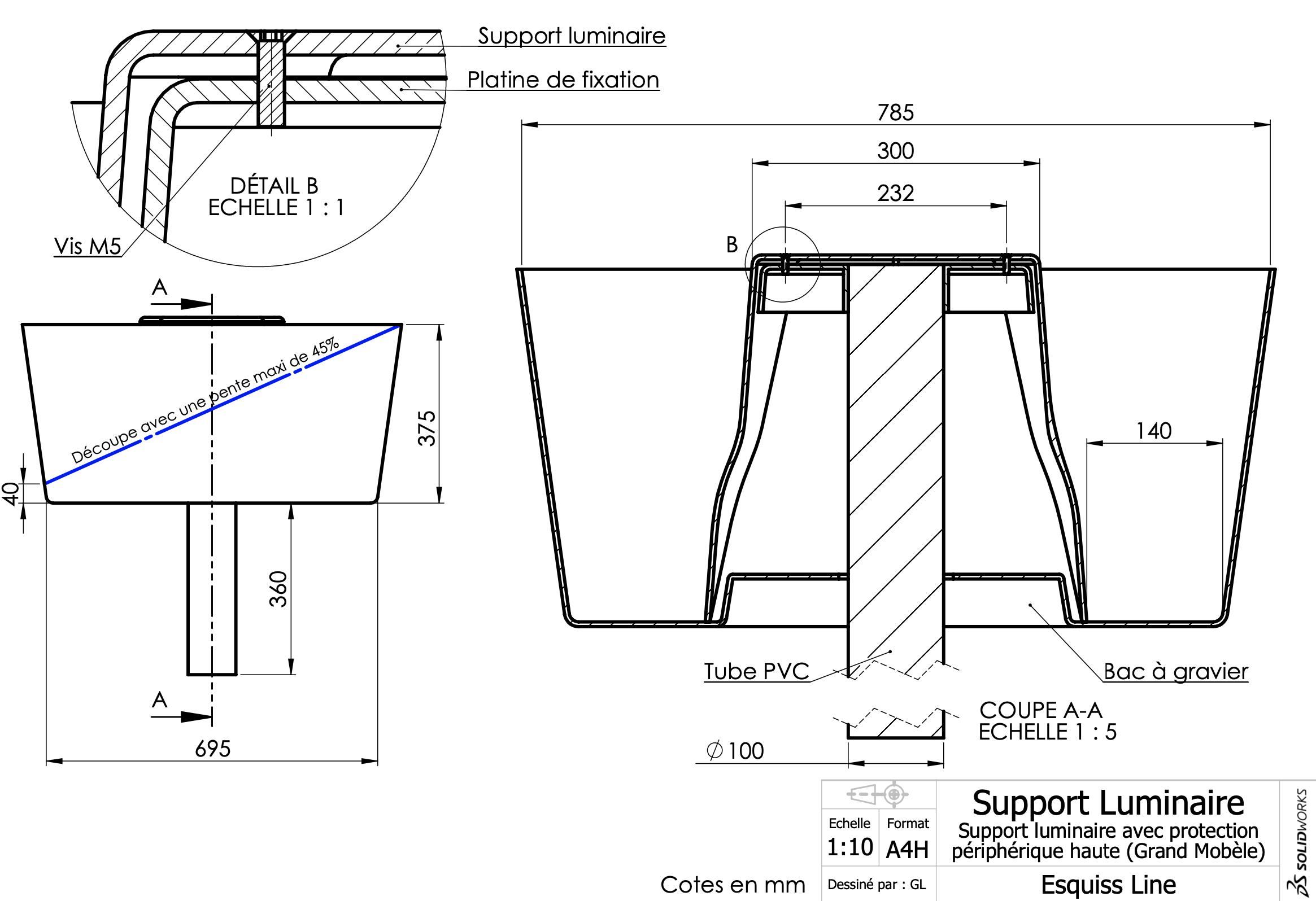 Support luminaire GM haut Fiche technique