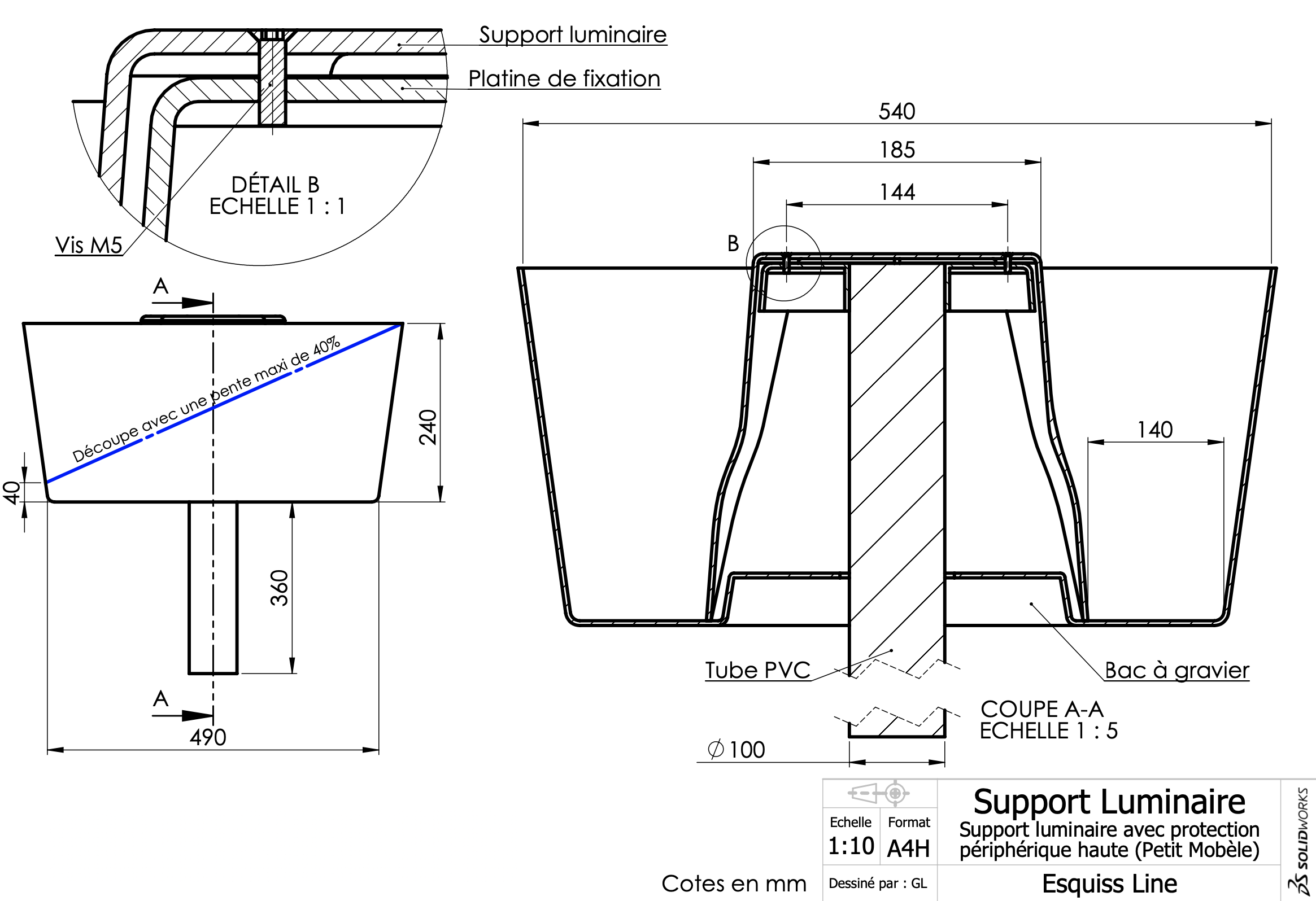 Support luminaire bas Fiche technique