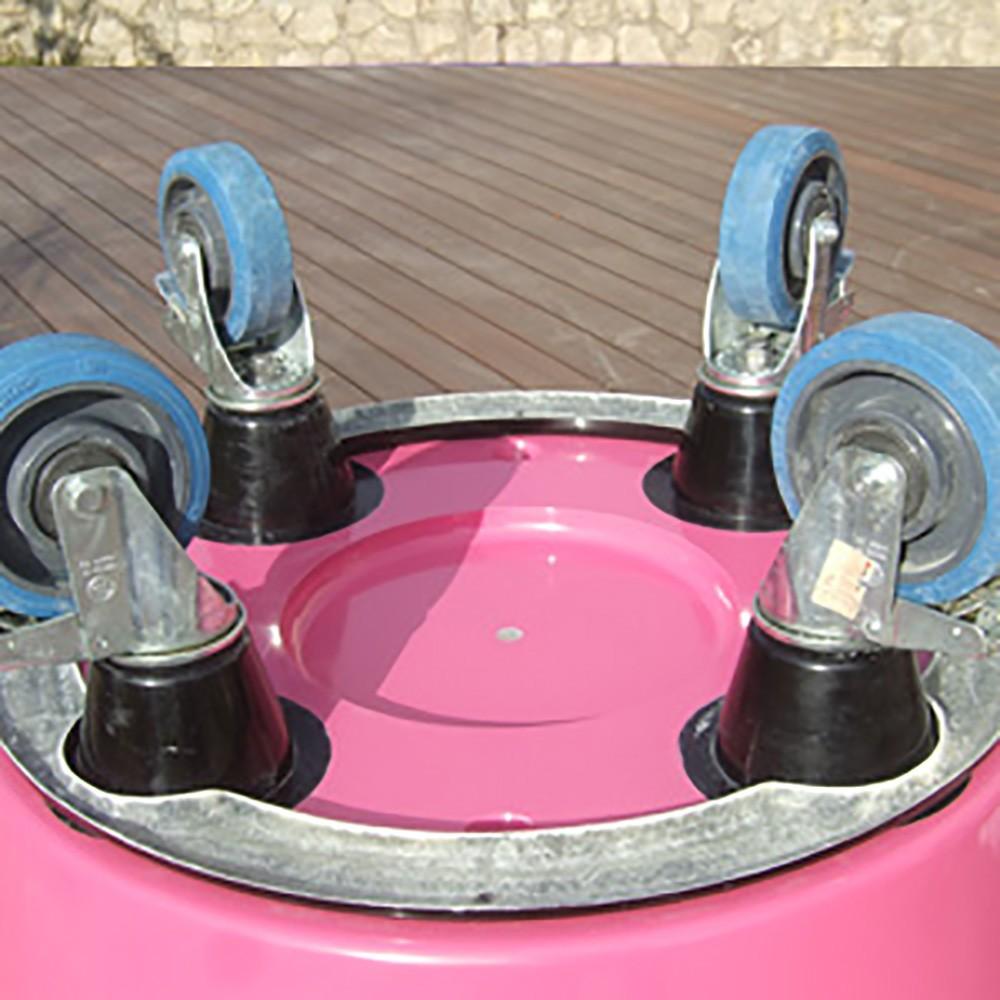 Pot de fleur rose JUMBO avec roulette technique